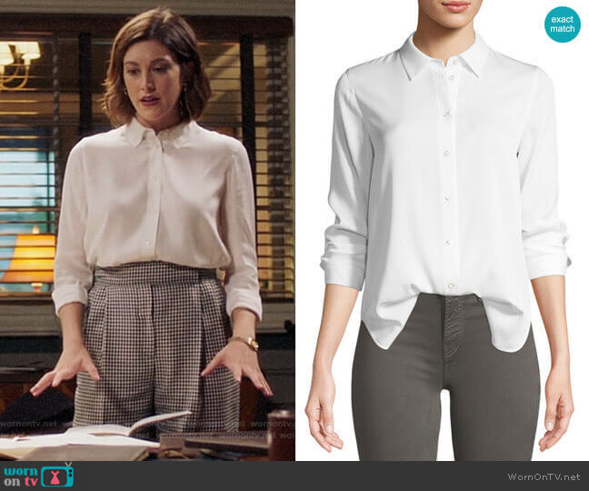 Vince Slim-Fit Long-Sleeve Stretch-Silk Blouse worn by Sydney Strait (Caitlin McGee) on Bluff City Law