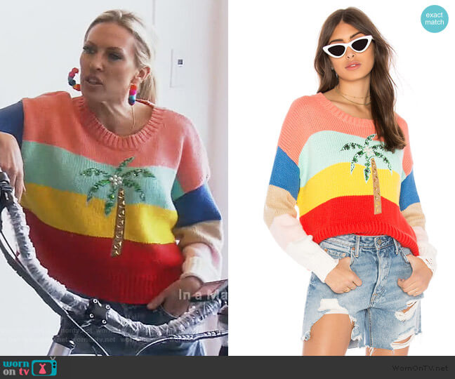 Cayman Palm Iris Sweater by Wildfox worn by Braunwyn Windham-Burke  on The Real Housewives of Orange County