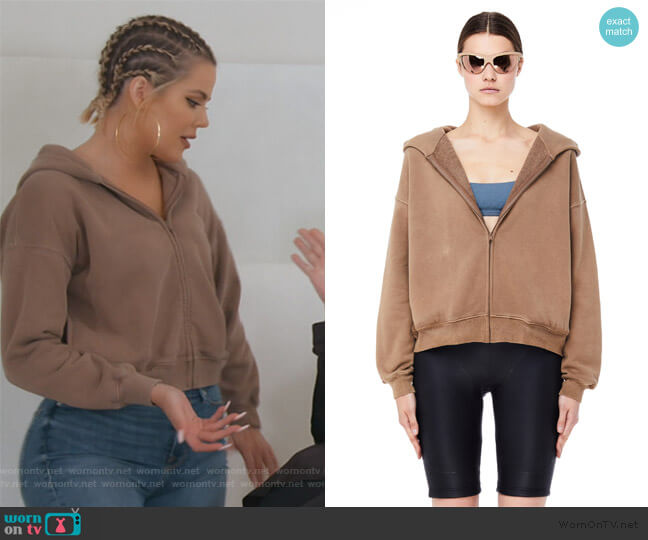 Trench Cropped Zip Hoodie by Yeezy worn by Khloe Kardashian  on Keeping Up with the Kardashians