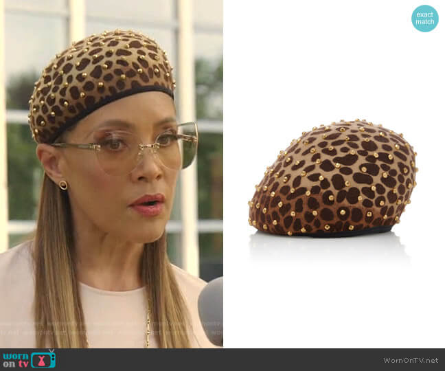 Zina Studded Beret by Yestadt Millinery worn by Dominique Deveraux (Michael Michele) on Dynasty