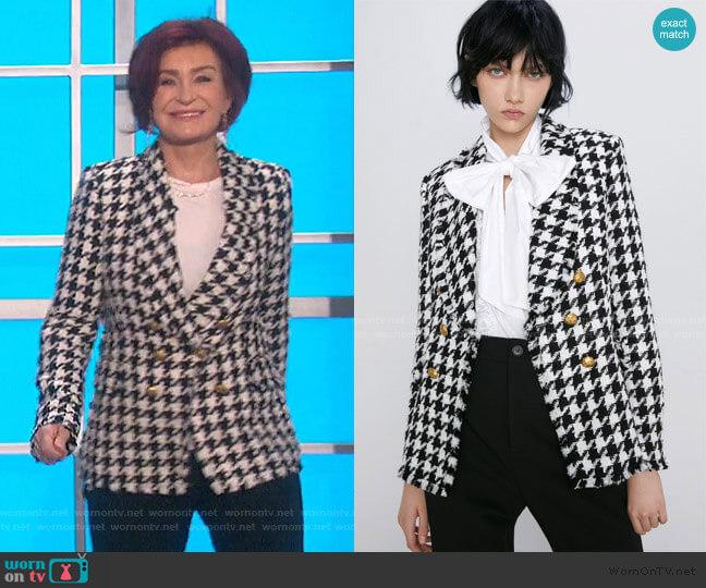 Houndstooth Jacket by Zara worn by Sharon Osbourne  on The Talk