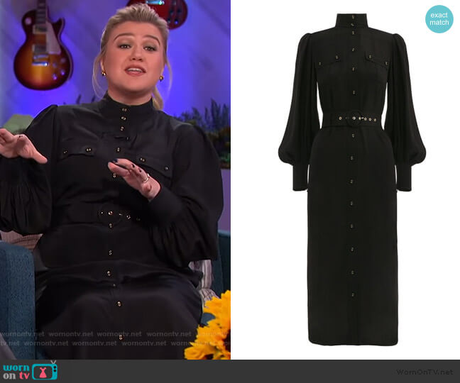 Espionage Silk Utility Dress by Zimmermann worn by Kelly Clarkson  on The Kelly Clarkson Show