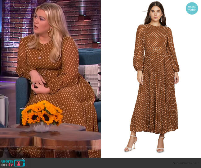 Espionage Sunray Track Dress by Zimmermann worn by Kelly Clarkson  on The Kelly Clarkson Show
