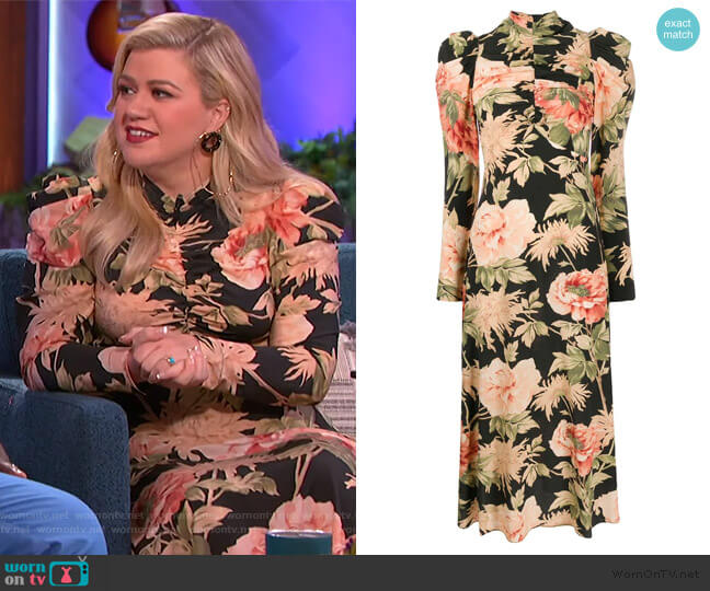 Espionage Drape Dress in Peony Print by Zimmermann worn by Kelly Clarkson  on The Kelly Clarkson Show