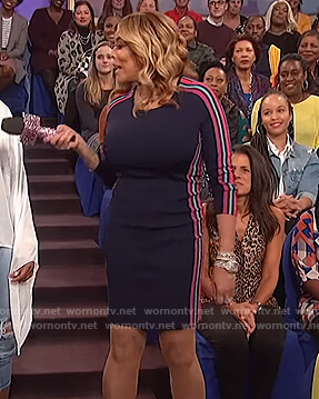 Wendy's navy stripe side mini dress on The Wendy Williams Show