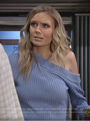 Abby's blue one-shoulder sweater on The Young and the Restless