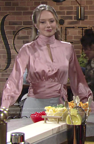 Abby's pink keyhole wrap blouse on The Young and the Restless