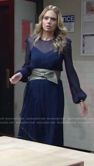 Abby's sheer blue long sleeved dress on The Young and the Restless