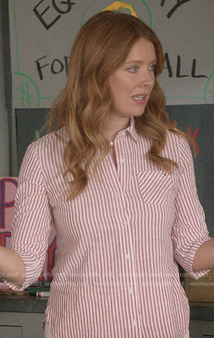 Abby's red striped shirt on Black-ish