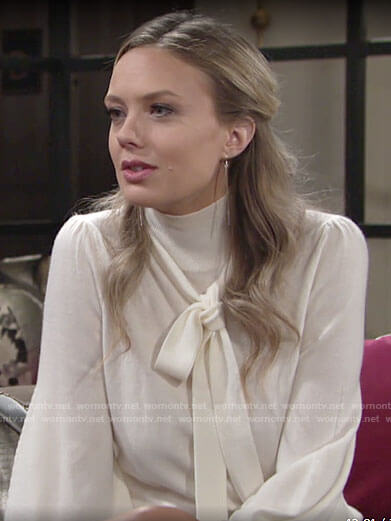 Abby's white tie neck sweater on The Young and the Restless