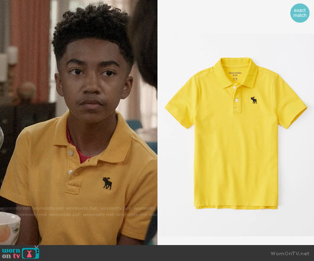 Abercrombie Boys Icon Stretch Polo worn by Jack Johnson (Miles Brown) on Blackish