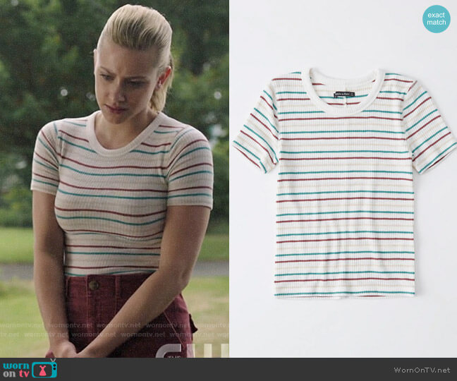 Abercrombie & Fitch Slim Ribbed Tee in White Stripe worn by Betty Cooper (Lili Reinhart) on Riverdale