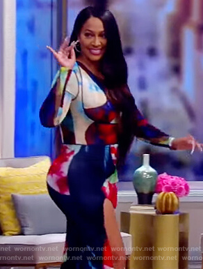 La La Anthony's abstract print bodycon dress on The View