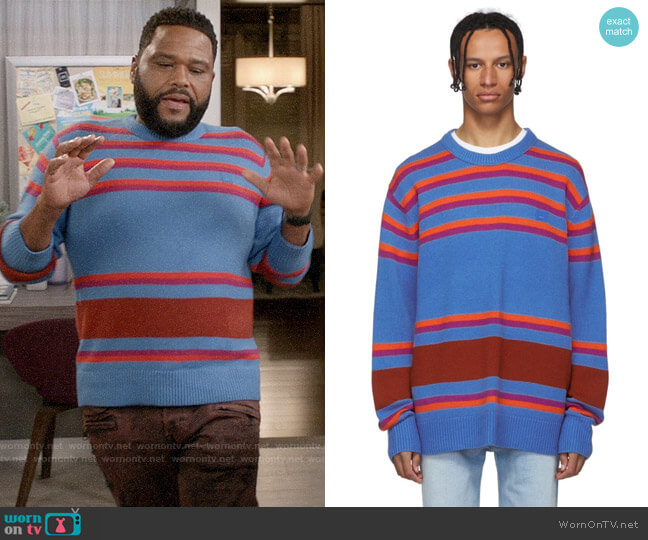 Acne Studios Blue Striped Nimah Sweater worn by Andre Johnson (Anthony Anderson) on Blackish