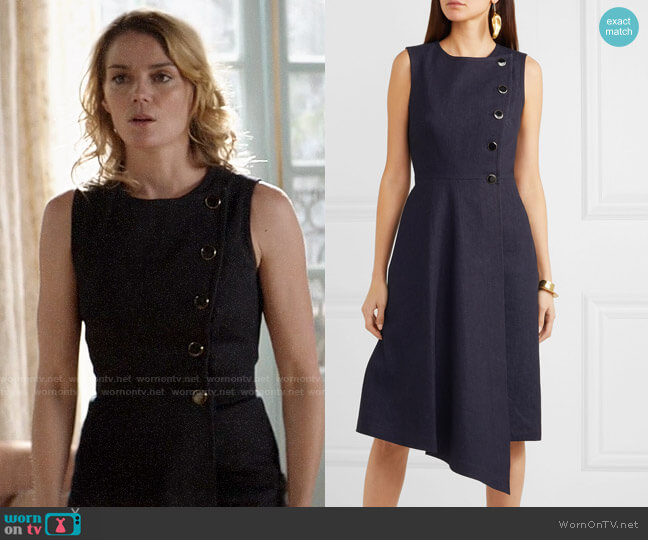 Adam Lippes Asymmetric wrap-effect denim dress worn by Annie (Susan Misner) on God Friended Me