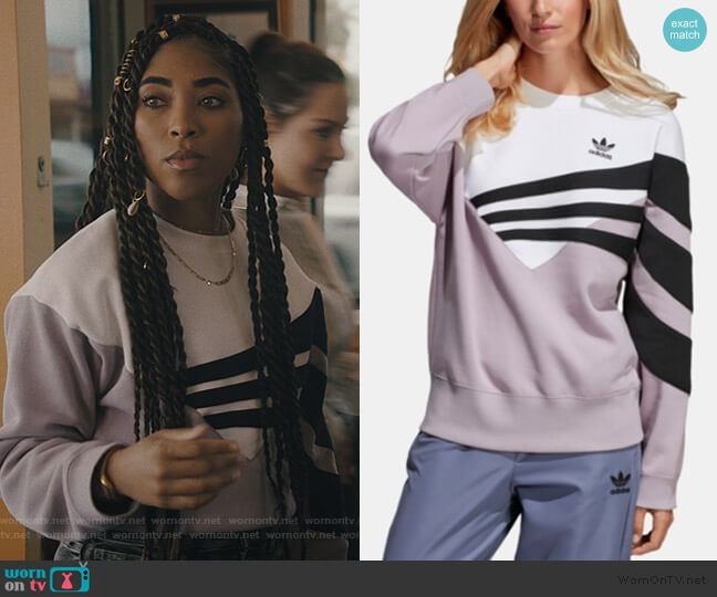 Purple Originals Bossy 90s Cropped Sweatshirt by Adidas worn by Peri (Adriyan Rae) on Light as a Feather