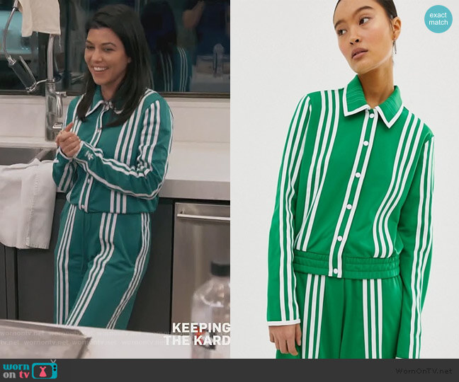 Choi belted track jacket and Pants by Adidas worn by Kourtney Kardashian  on Keeping Up with the Kardashians