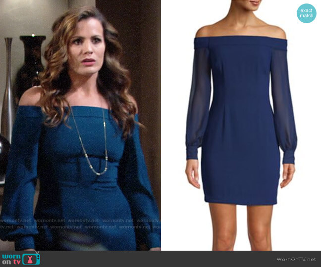 Aidan by Aidan Mattox Off-the-Shoulder Crepe Dress worn by Chelsea Lawson (Melissa Claire Egan) on The Young & the Restless
