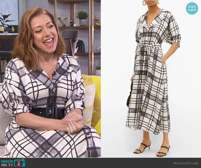 Theodora Checked Shirtdress by Aje worn by Alyson Hannigan on E! News Daily Pop