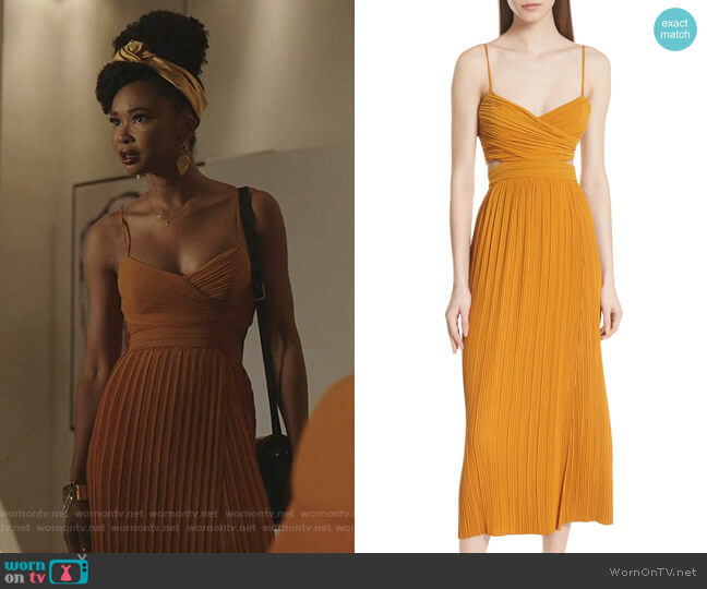 Sienna Pleated Dress by A.L.C. worn by Monica Colby (Wakeema Hollis) on Dynasty