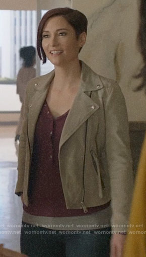 Alex's suede moto jacket on Supergirl