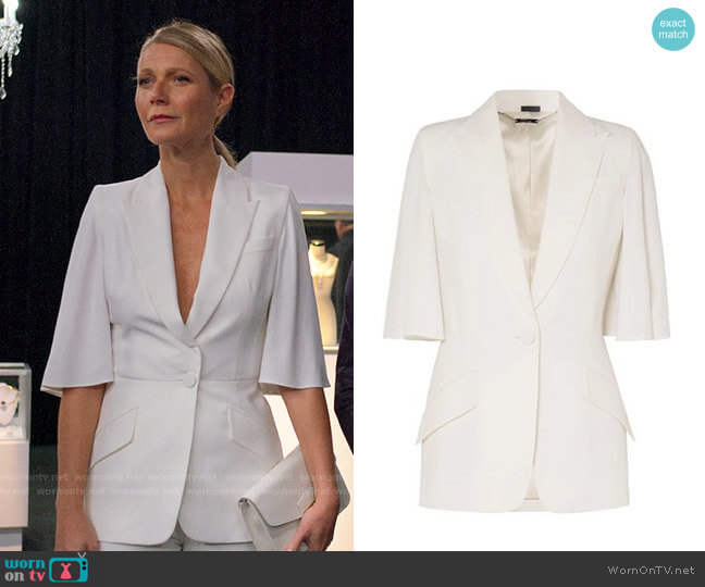 Alexander McQueen Cape Effect Crepe Blazer worn by Georgina Hobart (Gwyneth Paltrow) on The Politician