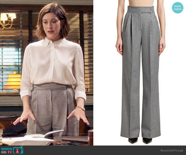 Alexander McQueen High-Rise Houndstooth Wide-Leg Trousers worn by Sydney Strait (Caitlin McGee) on Bluff City Law