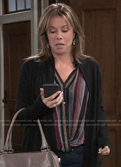 Alexis's striped button front top on General Hospital
