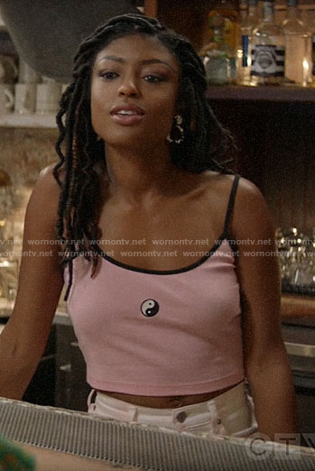 Ali's pink yin yang cami on God Friended Me