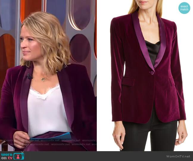 Macey Velvet Shawl Collar Jacket by Alice + Olivia worn by Sara Haines  on Good Morning America