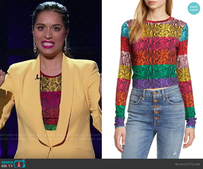 Alice + Olivia Delaina Reptile Top worn by Lilly Singh  on A Little Late with Lilly Singh