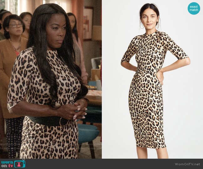 Alice + Olivia Delora Leopard Dress worn by Golden Brooks on Black-ish