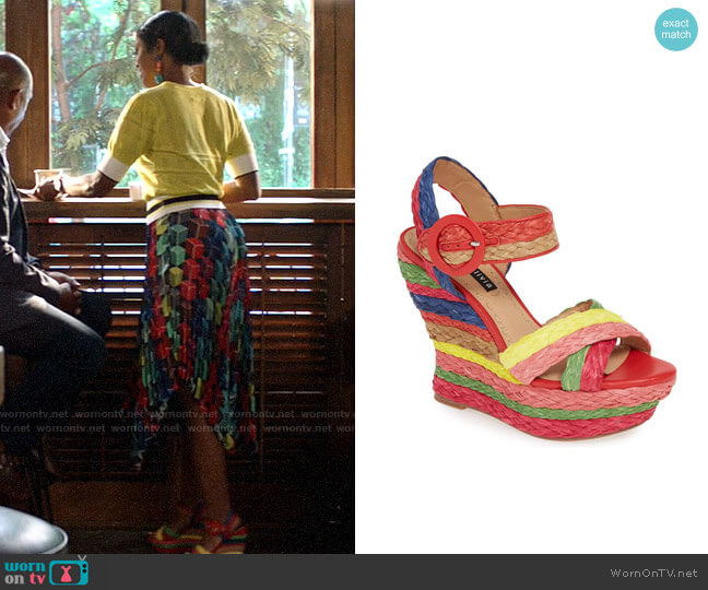 Alice + Olivia Josiey Rainbow Wedge Sandals worn by Ali Finer (Javicia Leslie) on God Friended Me
