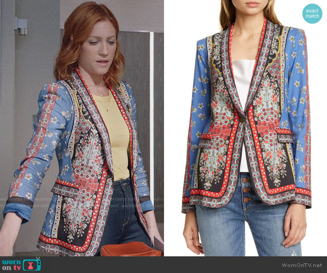 Alice + Olivia Macey Blazer worn by Julia Bechley (Brittany Snow) on Almost Family