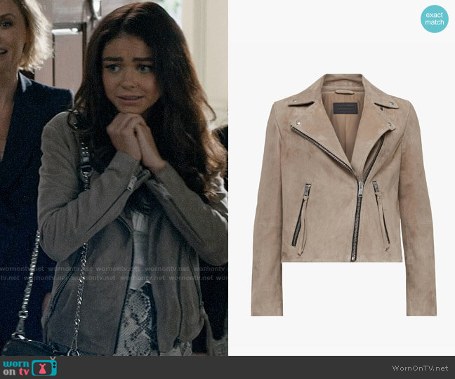 All Saints Suede Dalby Biker Jacket worn by Haley Dunphy (Sarah Hyland) on Modern Family