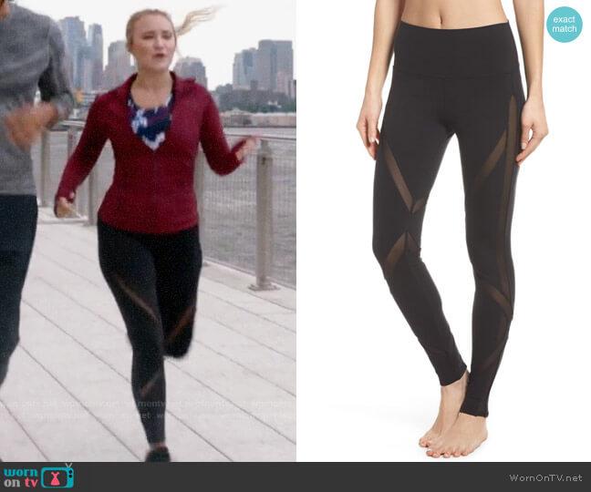 Alo Yoga High Waist Mesh Inset Leggings worn by Roxy Doyle (Emily Osment) on Almost Family