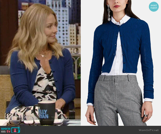 Cygnet Cotton Crop Cardigan by Altuzarra worn by Kelly Ripa  on Live with Kelly & Ryan