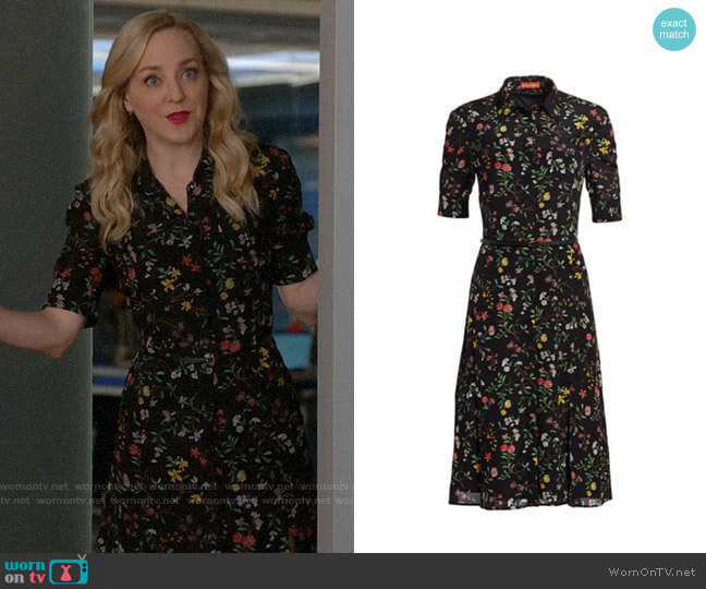 Altuzarra Kieran Botanical Silk Shirtdress worn by Marissa Morgan (Geneva Carr) on Bull