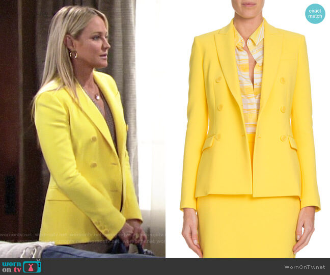 Altuzarra Indiana Double-Breasted Crepe Jacket worn by Sharon Collins (Sharon Case) on The Young & the Restless
