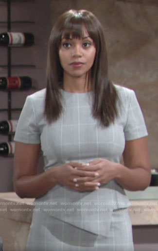 Amanda's grey checked peplum dress on The Young and the Restless