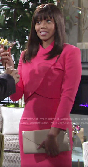 Amanda's pink cropped jacket and dress set on The Young and the Restless