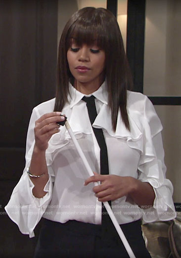 Amanda's white ruffled blouse with tie neck on The Young and the Restless