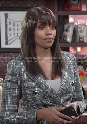 Amanda's plaid double breasted blazer on The Young and the Restless
