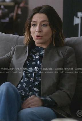 Amelia's navy printed shirt on Greys Anatomy