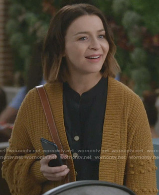 Amelia's mustard cardigan on Greys Anatomy