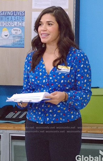 Amy's blue floral v-neck top on Superstore