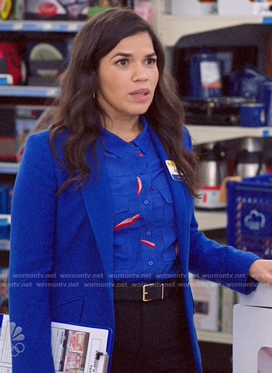 Amy's blue printed button down shirt on Superstore