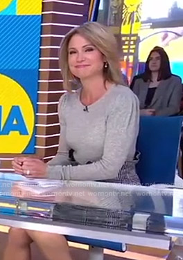 Amy's grey sweater and plaid mini skirt on Good Morning America