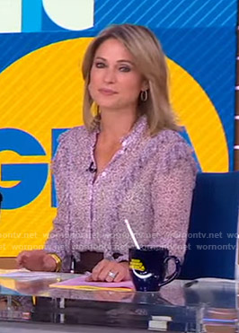 Amy's pink floral ruffle blouse on Good Morning America