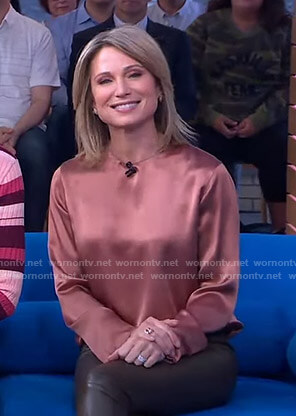 Amy's crew neck satin blouse on Good Morning America